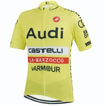2015 Castelli Audi Yellow Cycling Jersey Ropa Ciclismo Short Sleeve Only Cycling Clothing  cycle jerseys Ciclismo bicicletas maillot ciclismo