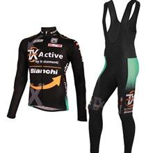 2012 bianchi Cycling Jersey Long Sleeve and Cycling bib Pants
