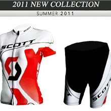 2012 ringwise women's scott red white Cycling Jersey Short Sleeve and Cycling Shorts Cycling Kits