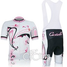 2012 Women Castelli Cycling Jersey Short Sleeve and Cycling bib Shorts Cycling Kits Strap