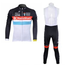 2012 radioshack black white Thermal Fleece Cycling Jersey Long Sleeve and Cycling bib Pants S