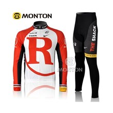 2012 radio shack red white Thermal Fleece Cycling Jersey Long Sleeve and Cycling Pants S