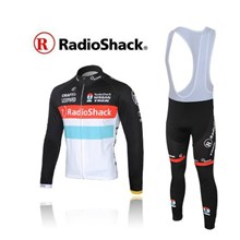 2012 radio shack Thermal Fleece Cycling Jersey Long Sleeve and Cycling bib Pants S
