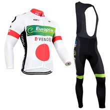 2014 Europcar White Thermal Fleece Cycling Jersey Long Sleeve Ropa Ciclismo Winter and Cycling bib Pants ropa ciclismo thermal ciclismo jersey thermal XXS