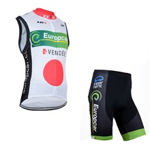 2014 Europcar White Cycling Vest Maillot Ciclismo Sleeveless and Cycling Shorts Cycling Kits  cycle jerseys Ciclismo bicicletas XXS