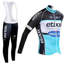 2015 Quick step Cycling Jersey Long Sleeve and Cycling bib Pants Cycling Kits Strap