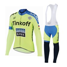 2015 Saxo bank Tionkff Cycling Jersey Long Sleeve and Cycling bib Pants Cycling Kits Strap