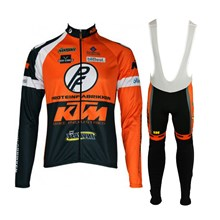 2015 ktm latr Cycling Jersey Long Sleeve and Cycling bib Pants Cycling Kits Strap