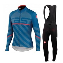 2015 Castelli Cycling Jersey Long Sleeve and Cycling bib Pants Cycling Kits Strap