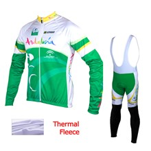 2015 Andalucia Thermal Fleece Cycling Jersey Long Sleeve Ropa Ciclismo Winter and Cycling bib Pants ropa ciclismo thermal ciclismo jersey thermal XXS