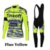 2015 Tinkoff Saxo Bank Fluo Yellow Cycling Jersey Long Sleeve and Cycling bib Pants Cycling Kits Strap