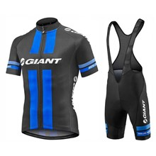 2017 Team Giant Black-Blue Cycling Jersey And Bib Shorts Kit Cycling Jersey Maillot Ciclismo Short Sleeve and Cycling bib Shorts Cycling Kits Strap cycle jerseys Ciclismo bicicletas XXS