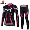 OTWZLS Women Cycling Jersey Long Sleeve and Cycling Pants Cycling Kits S