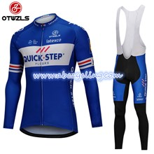 2018 QUICK STEP Cycling Jersey Long Sleeve and Cycling bib Pants Cycling Kits Strap S