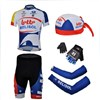 2013 lotto Cycling Jersey+Shorts+Scarf Cap+gloves+Arm sleeve S