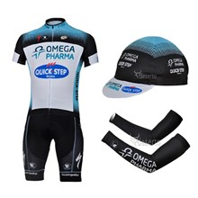 2013 quick-step Cycling Jersey+Shorts+Cap+Arm sleeves