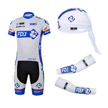 2013 fdj Cycling Jersey+Shorts+Scarf+Arm sleeves