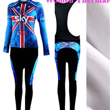 2013 Women sky Thermal Fleece Cycling Jersey Long Sleeve and Cycling bib Pants