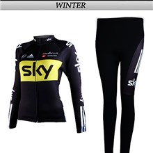 2012 women SKY Thermal Fleece Cycling Jersey Long Sleeve and Cycling Pants