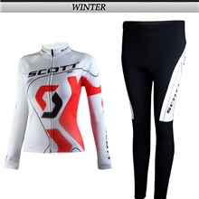 2012 women scott Thermal Fleece Cycling Jersey Long Sleeve and Cycling Pants