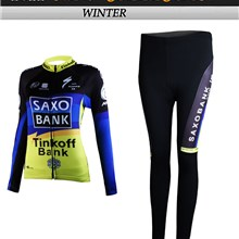 2012 women saxo bank Thermal Fleece Cycling Jersey Long Sleeve and Cycling Pants