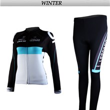 2012 women leopard Thermal Fleece Cycling Jersey Long Sleeve and Cycling Pants