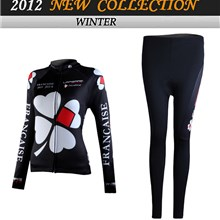 2012 women FDJ Thermal Fleece Cycling Jersey Long Sleeve and Cycling Pants