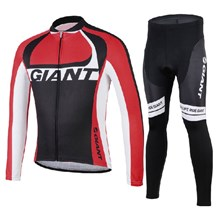 2014 GIANT red Thermal Fleece Cycling Jersey Long Sleeve and Cycling Pants Cycling Kits
