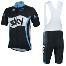 2014 Sky Cycling Jersey Short Sleeve and Cycling bib Shorts Cycling Kits Strap