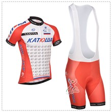 2014 katusha Cycling Jersey Short Sleeve and Cycling bib Shorts Cycling Kits Strap