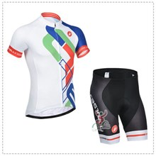 2014 castelli  Cycling White Blue Jersey Short Sleeve and Cycling Shorts Cycling Kits