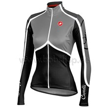 2014  Women CASTELLI Grey Thermal Fleece Cycling Jersey Long Sleeve Only Cycling Clothing