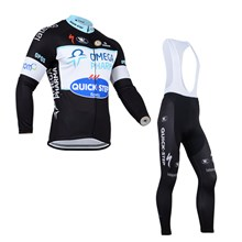 2014 QuickStep Thermal Fleece Cycling Jersey Long Sleeve and Cycling bib Pants