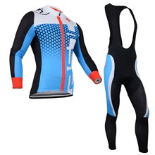 2014 CASTELLI Blue White Thermal Fleece Cycling Jersey Long Sleeve and Cycling bib Pants