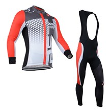 2014 CASTELLI Red Grey Thermal Fleece Cycling Jersey Long Sleeve and Cycling bib Pants