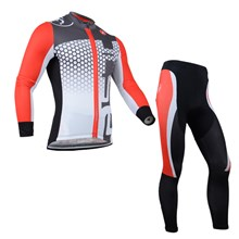 2014 CASTELLI Red Grey Thermal Fleece Cycling Jersey Long Sleeve and Cycling Pants