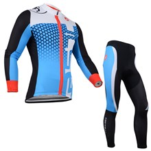2014 CASTELLI Blue White Thermal Fleece Cycling Jersey Long Sleeve and Cycling Pants