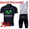 Special Discounts!2013 Movistar Cycling Jersey Short Sleeve+bib Shorts size M only M