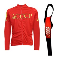 2016 CCCP Cycling Jersey Long Sleeve and Cycling bib Pants Cycling Kits Strap