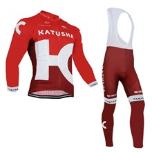 2016 KATUSHA Long Cycling Jersey Long Sleeve and Cycling bib Pants Cycling Kits Strap