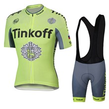 2016 Tinkoff saxo bank Fluo Light Green Cycling Jersey Maillot Ciclismo Short Sleeve and Cycling bib Shorts Cycling Kits Strap cycle jerseys Ciclismo bicicletas