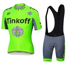 2016 Tinkoff saxo bank Fluo Green Cycling Jersey Maillot Ciclismo Short Sleeve and Cycling bib Shorts Cycling Kits Strap cycle jerseys Ciclismo bicicletas