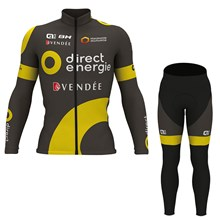 2017 DIRECT ENERGIE Cycling Jersey Long Sleeve and Cycling Pants Cycling Kits